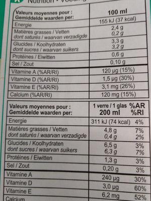 Boisson amande - Informations nutritionnelles - fr