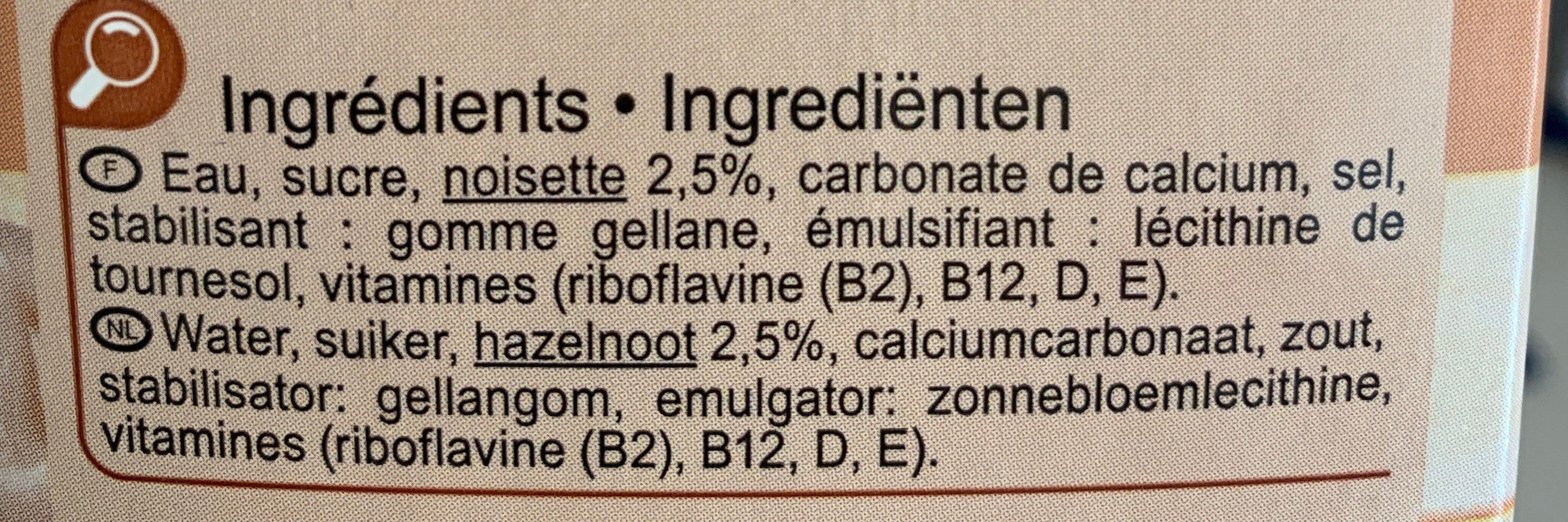 Boisson noisette - Ingredienti - fr