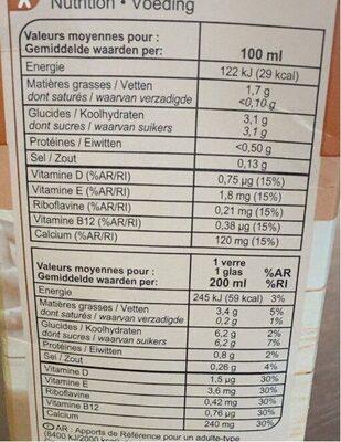 Boisson noisette - Valori nutrizionali - fr