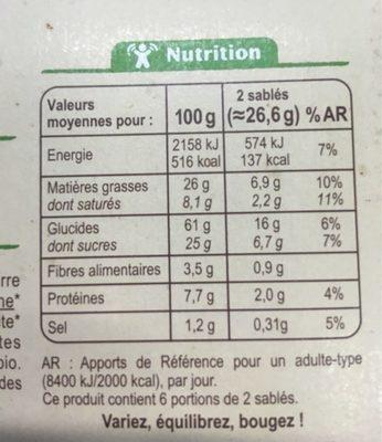Sablé aux deux céréales - Informations nutritionnelles