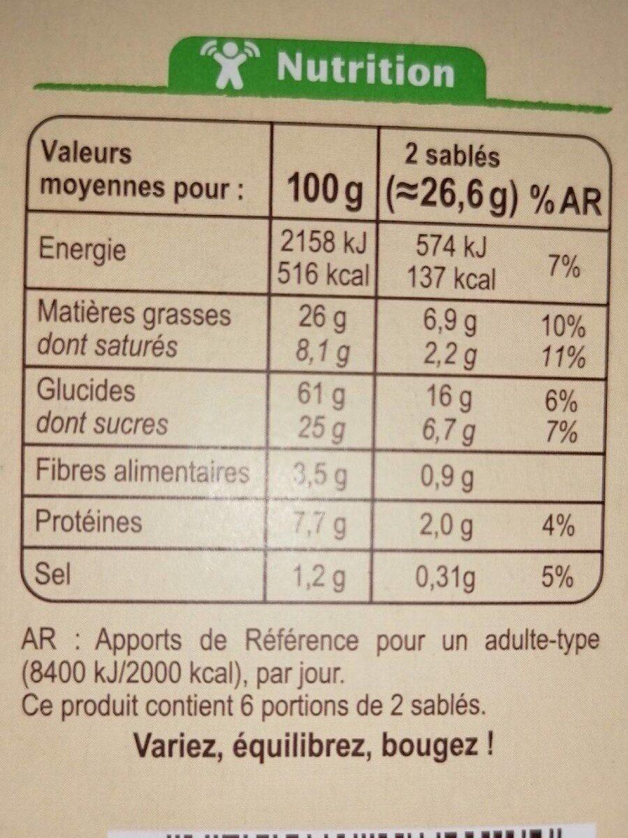 Sablés au deux céréales - Voedingswaarden - fr