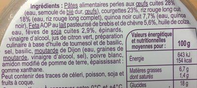 Perles de pates, courgettes, riz rouge - Ingrédients - fr