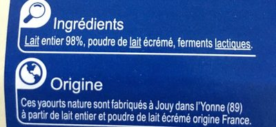 Votre yaourt nature - Ingrédients
