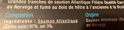 Saumon fumé de Norvège - Ingredienti - fr