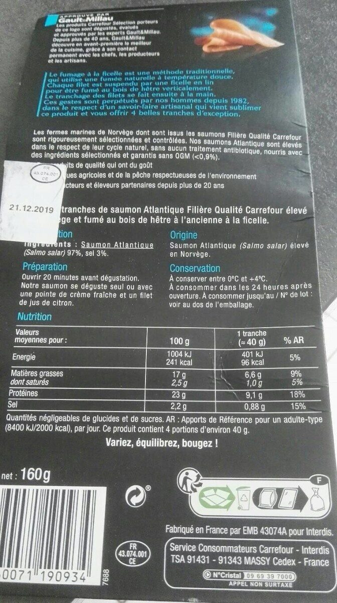 Saumon fumé de Norvège - Valori nutrizionali - fr