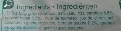 Riz aux légumes et curry - Ingrédients
