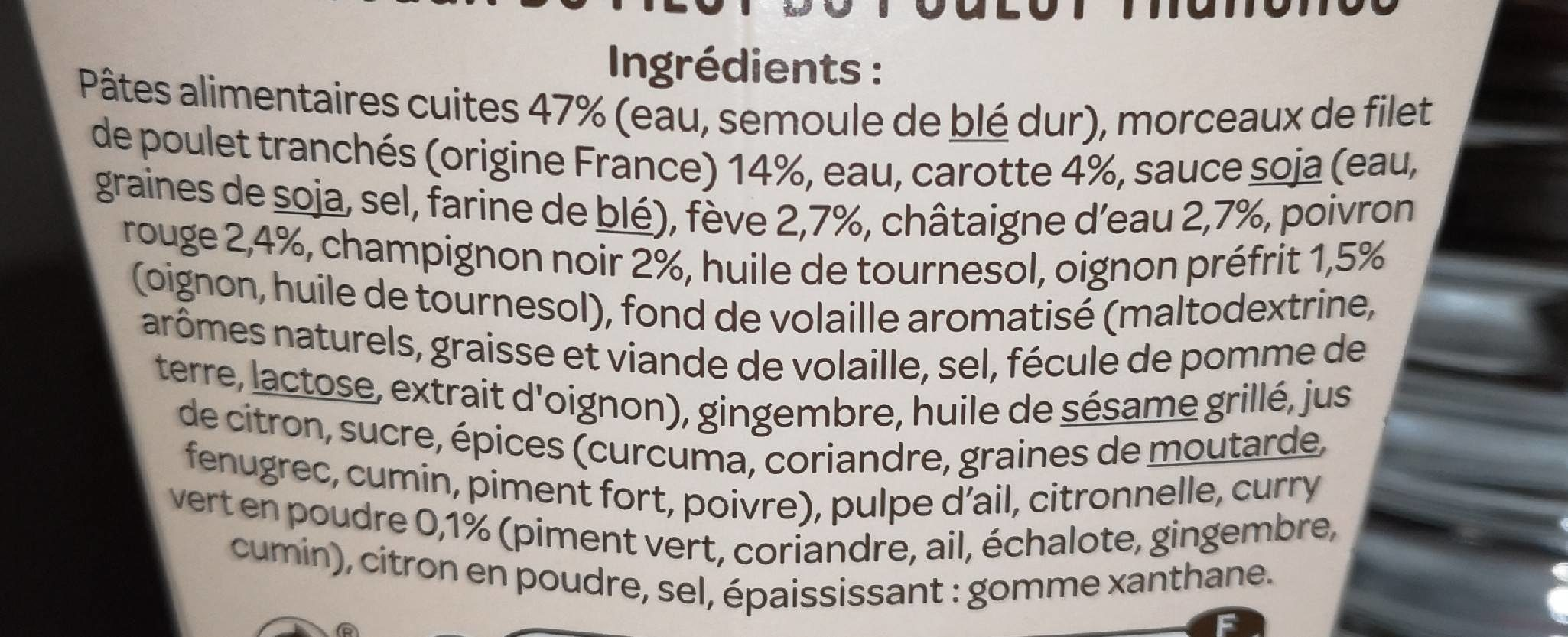 Nouilles Légumes Poulet Curry Vert - Ingrédients