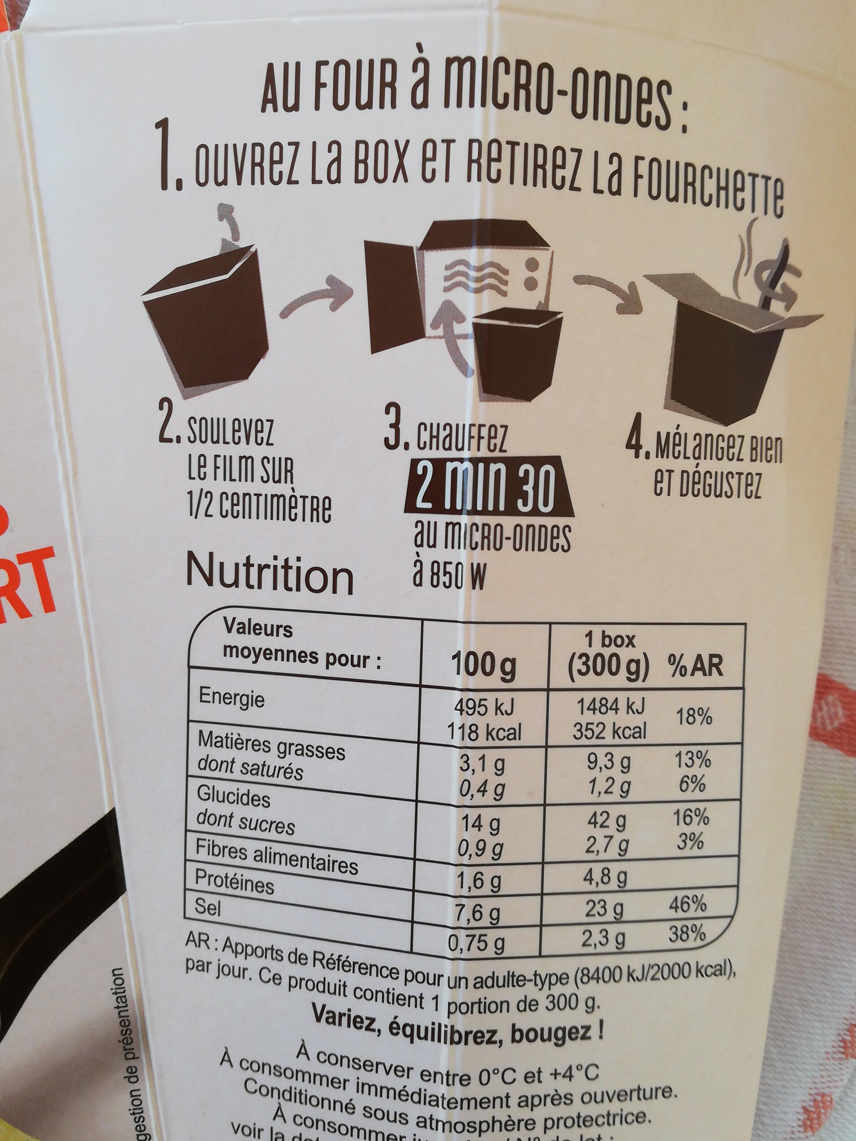 Nouilles Légumes Poulet Curry Vert - Informations nutritionnelles