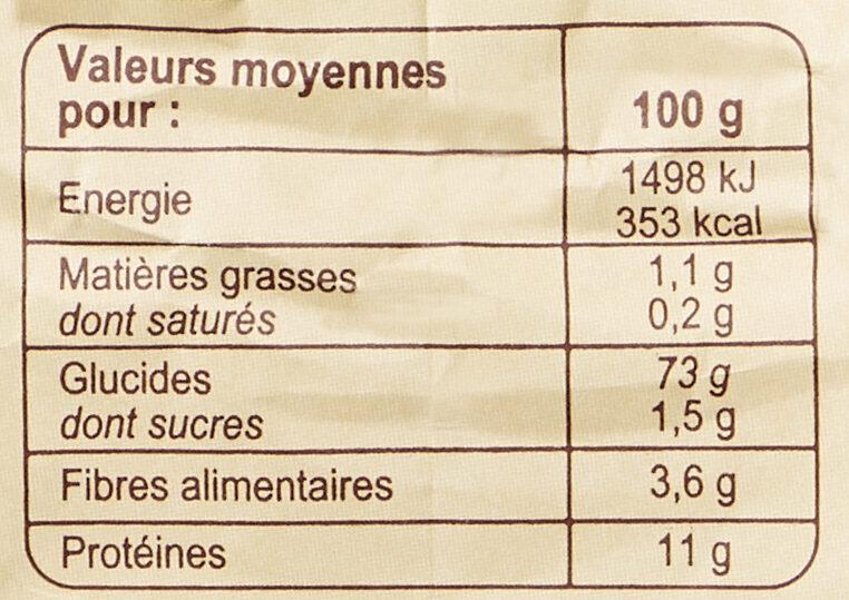 Farine de blé français type 65 - Informations nutritionnelles - fr