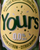 Yours bière sans alcool saveur citron - Product