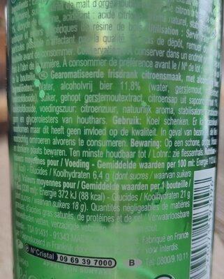 Yours bière sans alcool saveur citron - Valori nutrizionali - fr