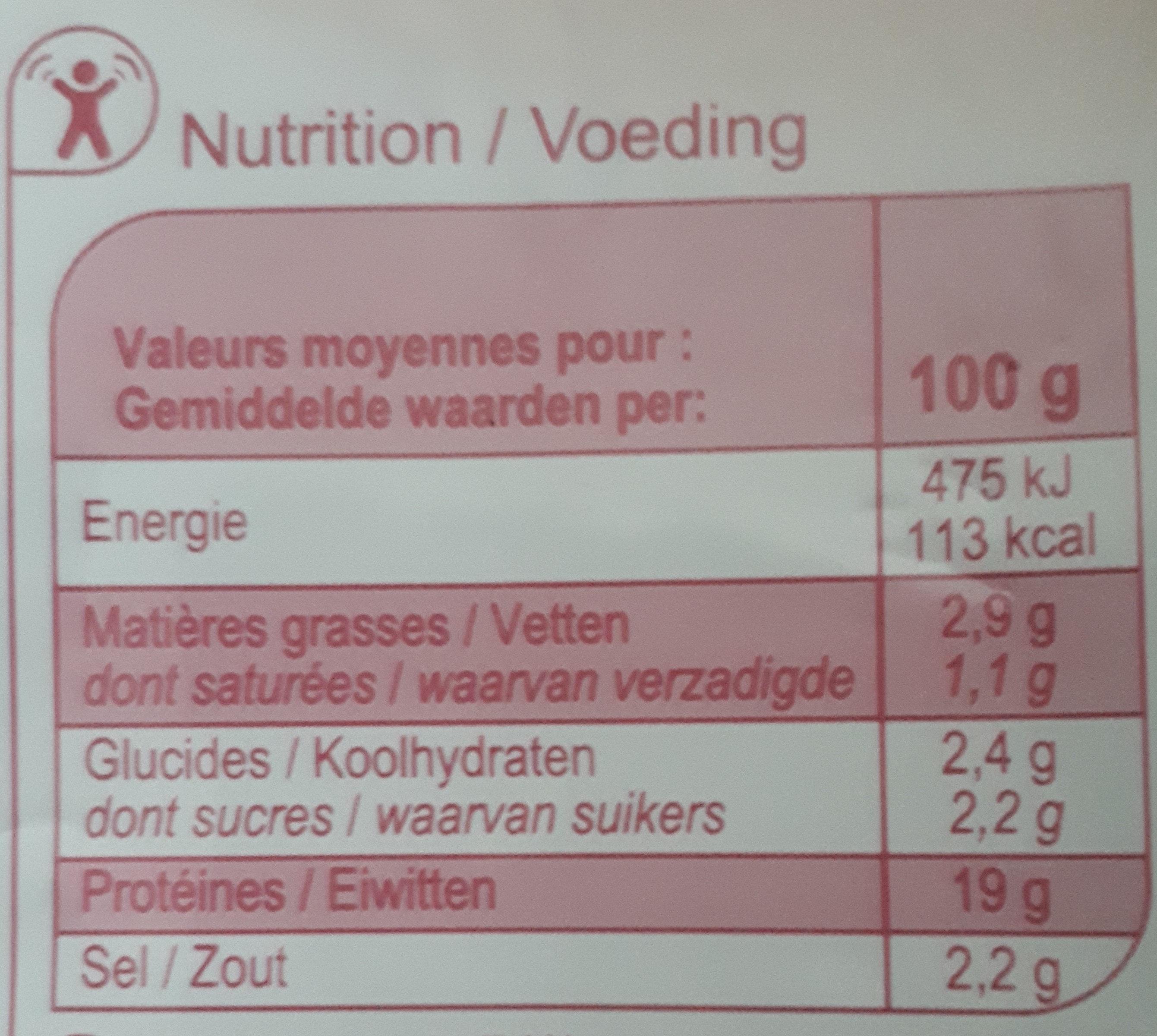 Jambon sans couenne - Voedigswaarden