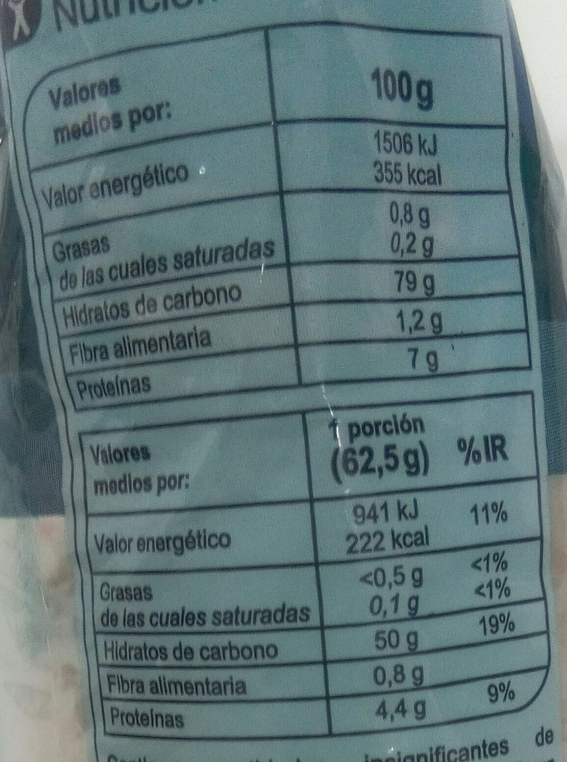 Arroz Thai - Informació nutricional