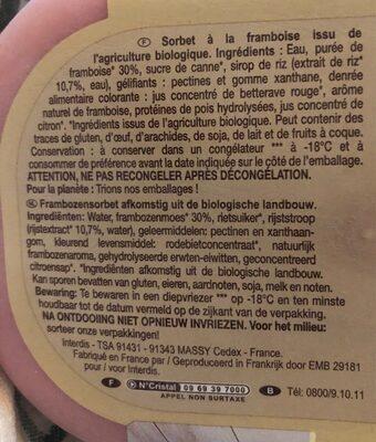 Sorbet Framboise - Ingrediënten
