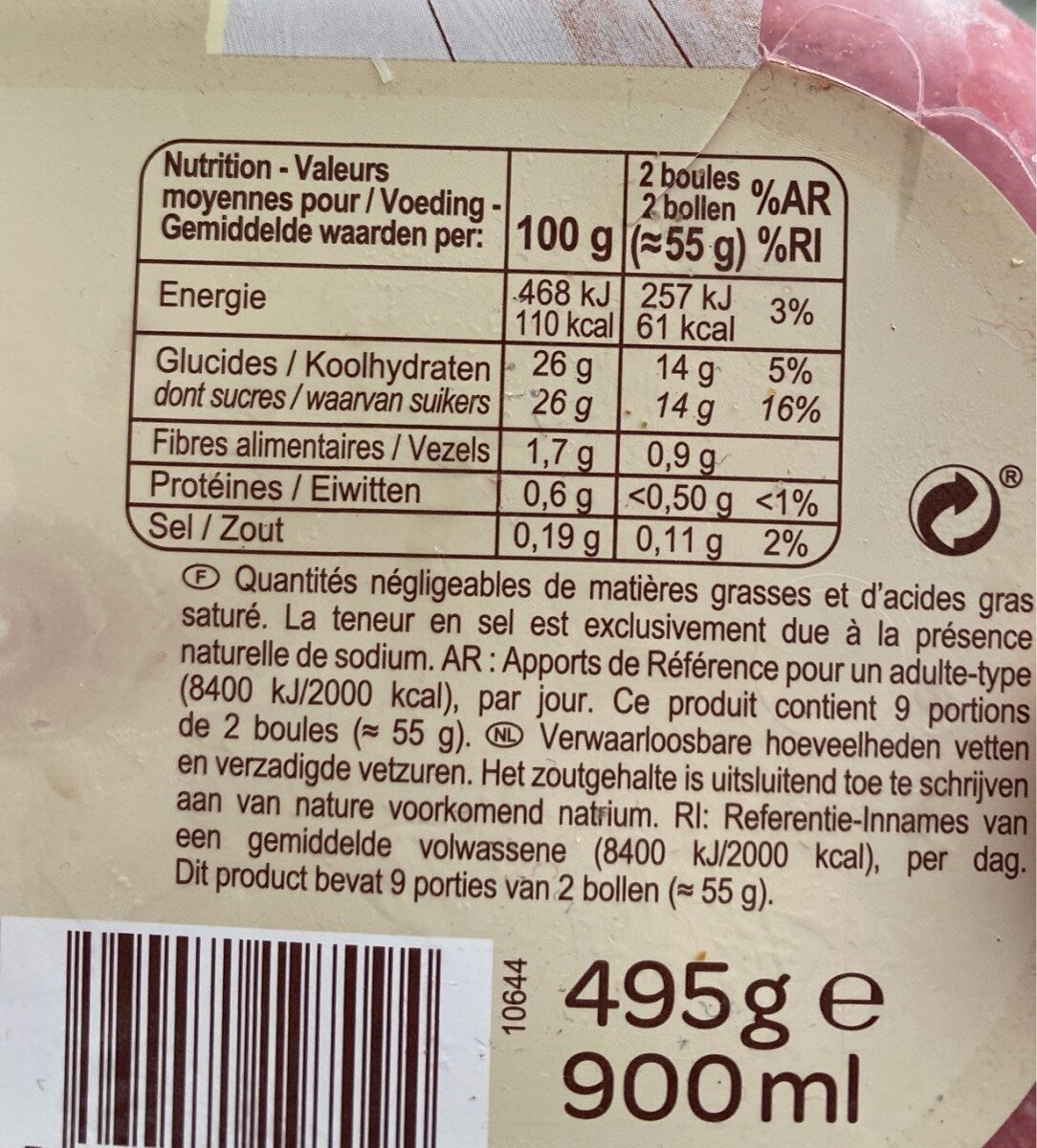 Sorbet Framboise - Voedingswaarden - fr