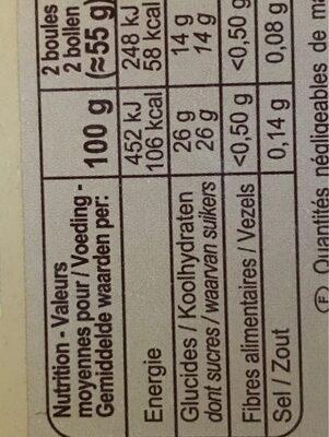 Sorbet citron - Informations nutritionnelles - fr