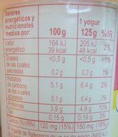 Yogur desnatado sabor limon - Informació nutricional - es