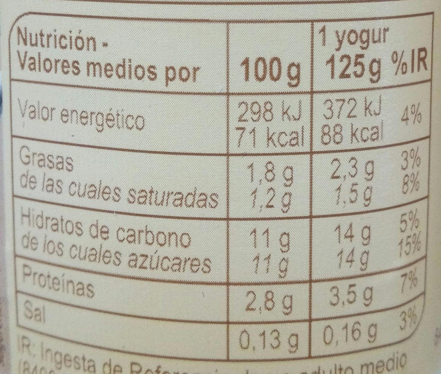 Yogur sabor a  coco - Informació nutricional - es