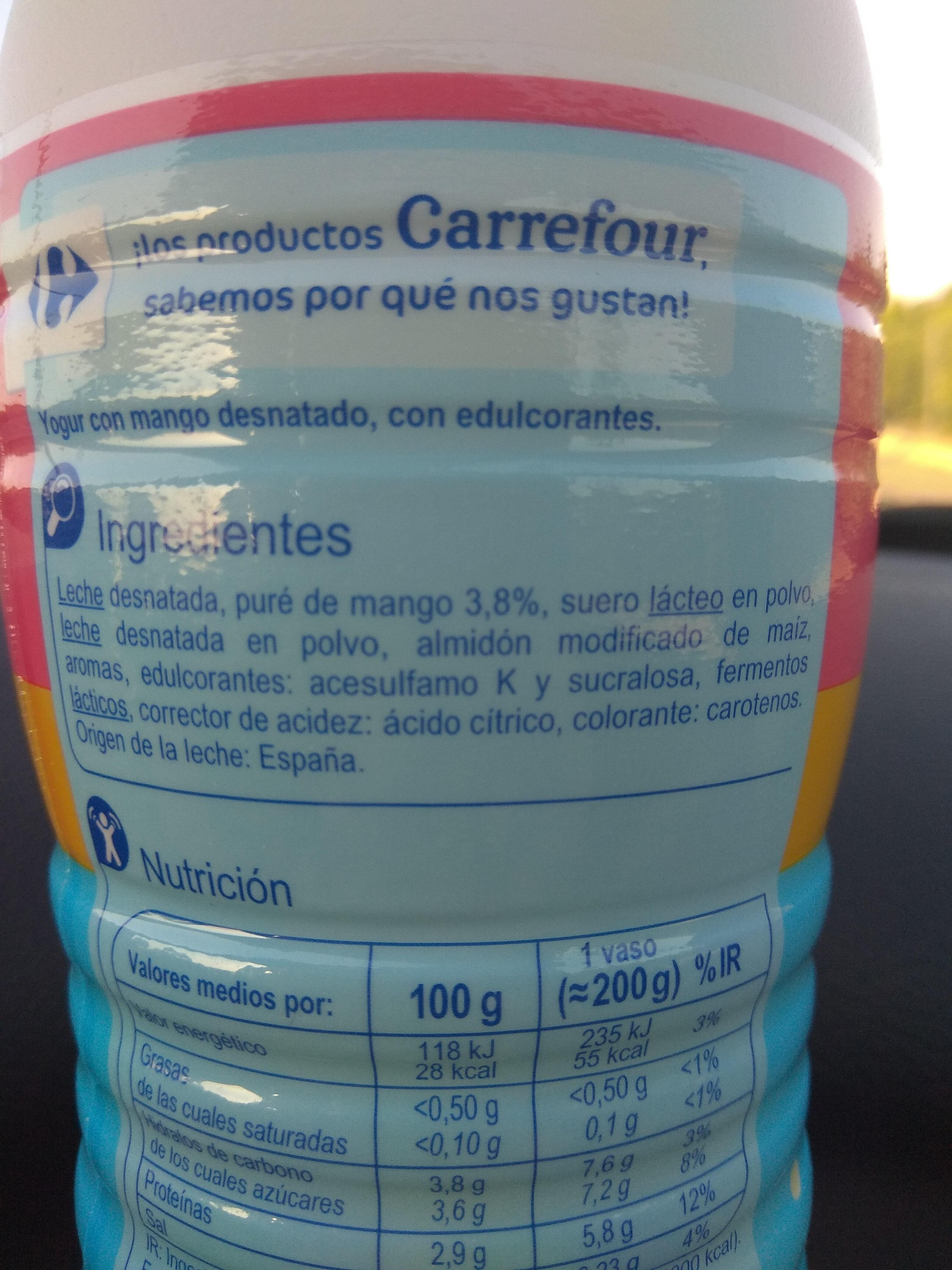 Yogur líquido desnatado - Ingredientes