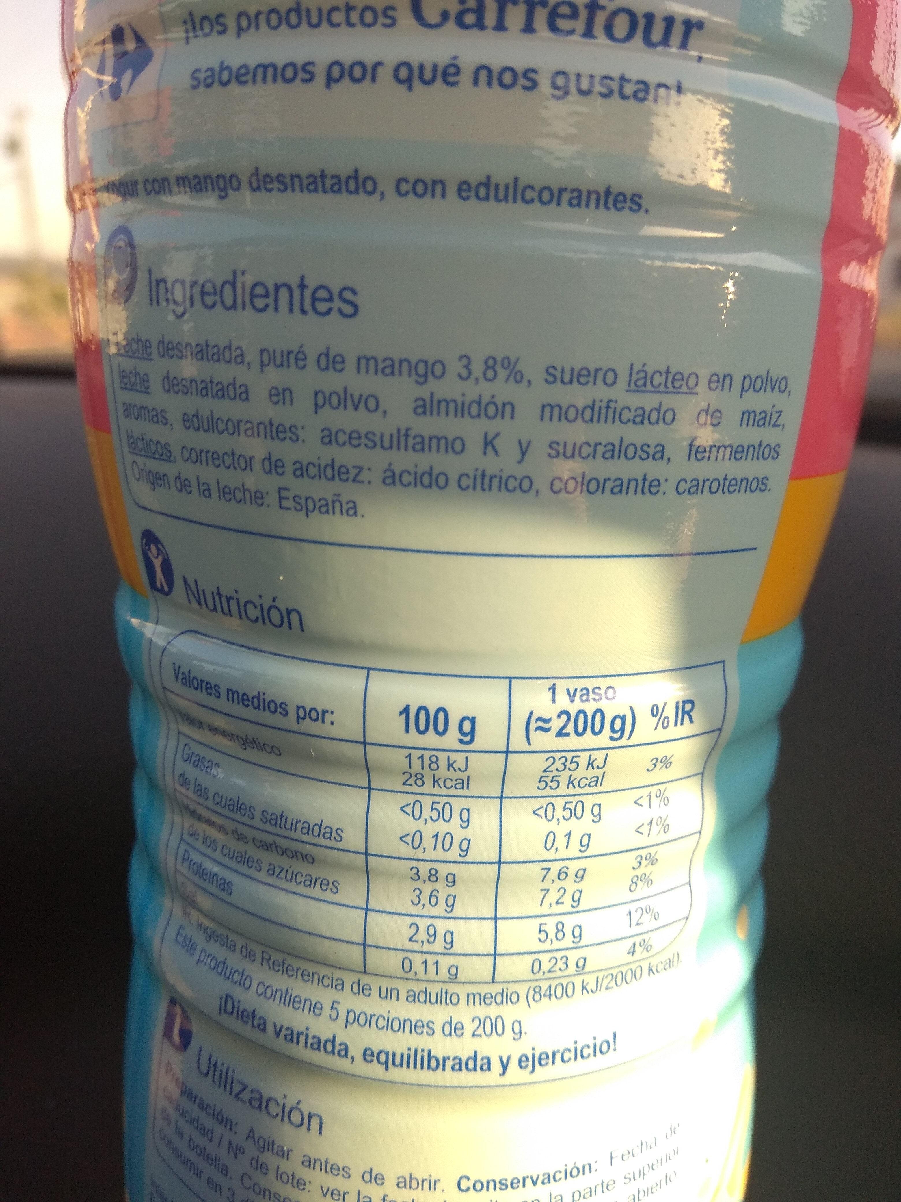Yogur líquido desnatado - Información nutricional