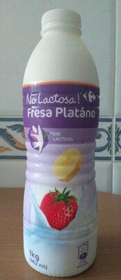 Yogur líquido sin lactosa fresa plátano - Producto - es