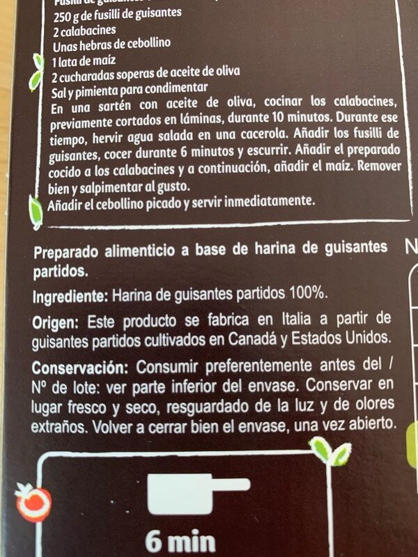 Fusilli de Guisantes 100% legumbres - Ingredients