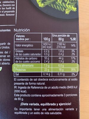 Fusilli de Guisantes 100% legumbres - Informació nutricional