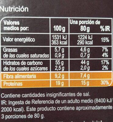 Macarrones de garbanzos - Información nutricional - es