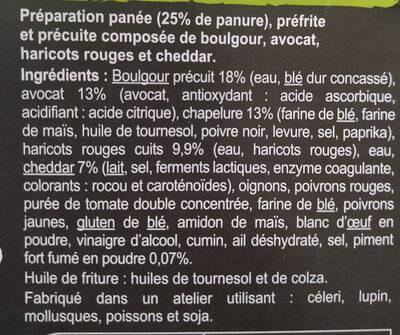 Bouchées panées avocat, haricots rouges, Cheddar - Ingrédients - fr