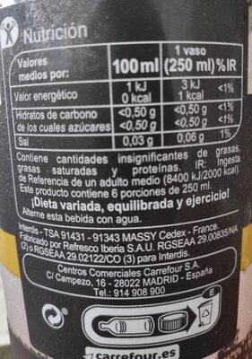 Cola zero sin cafeína - Ingredientes - es