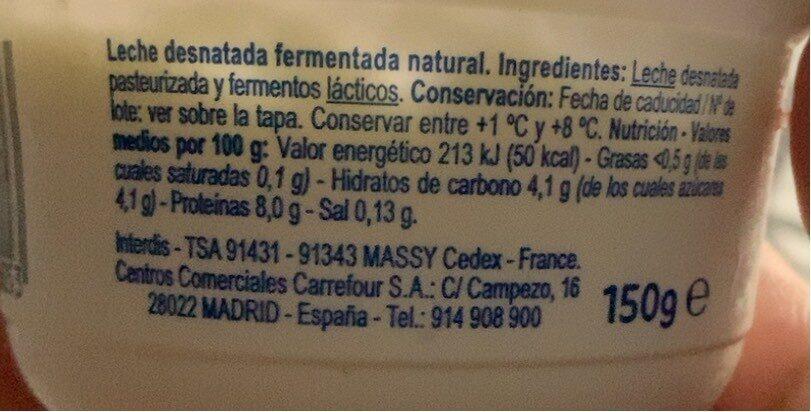 Skyr natural - Información nutricional - es