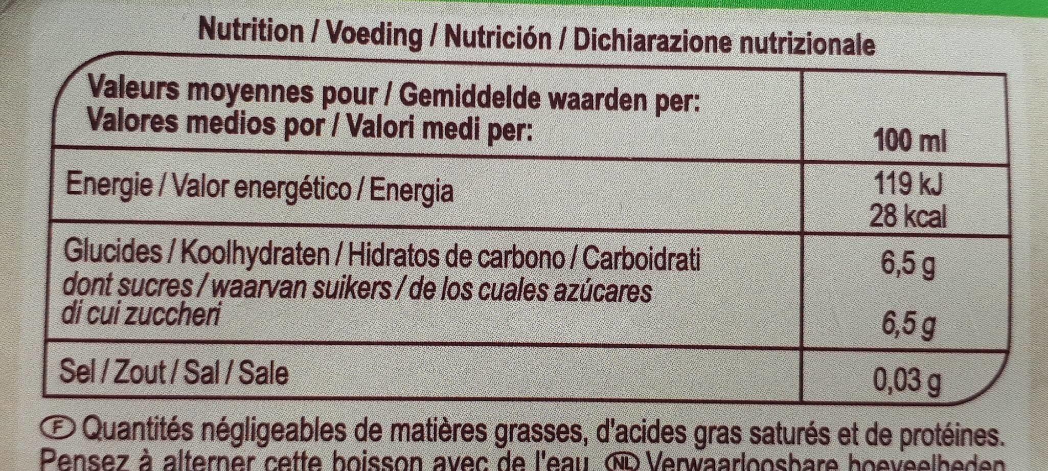 Saveur tropicale - Informations nutritionnelles - fr