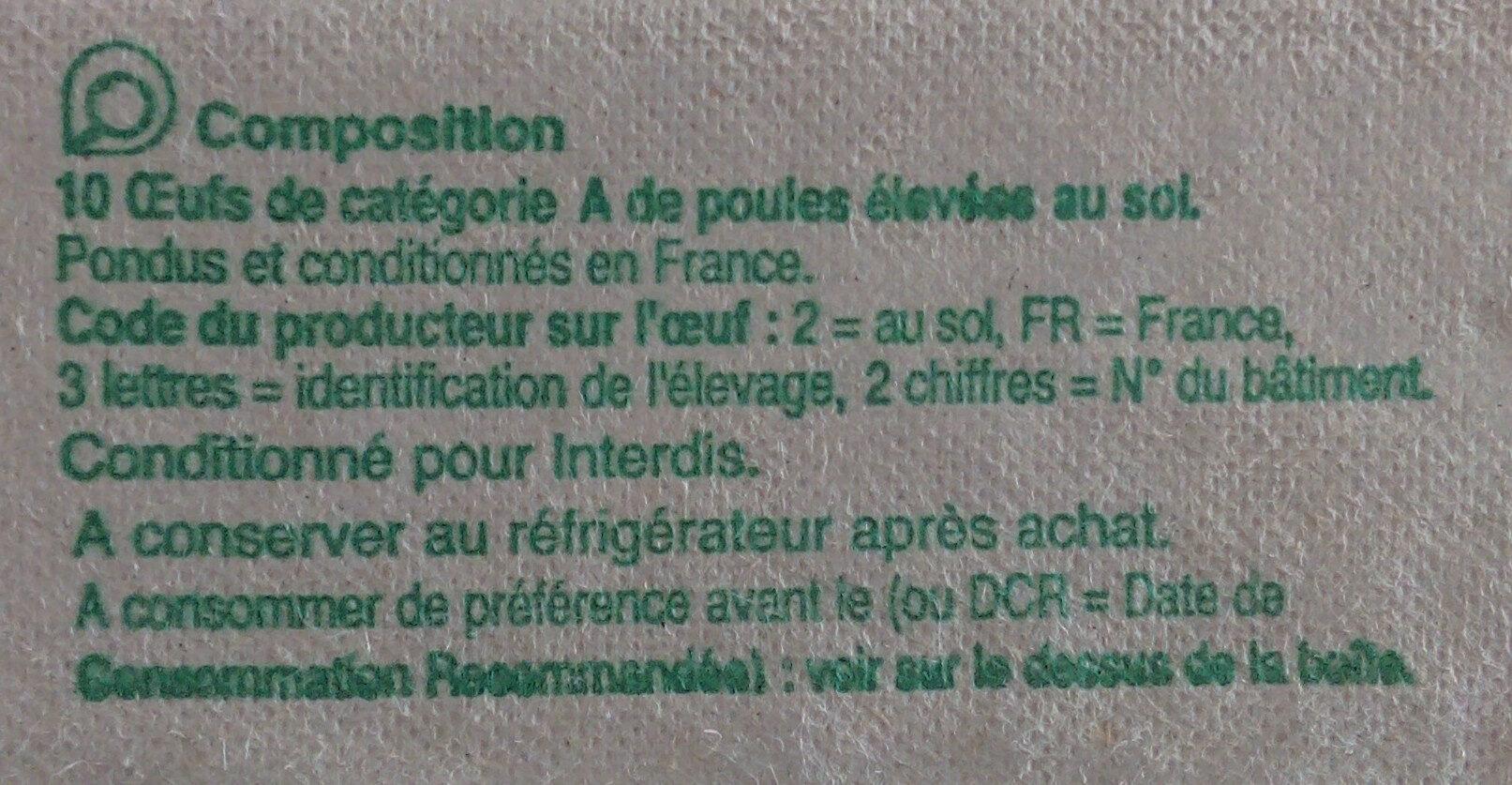 10 oeufs frais - Ingrediënten