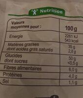 Chips paysanne - Nährwertangaben - fr