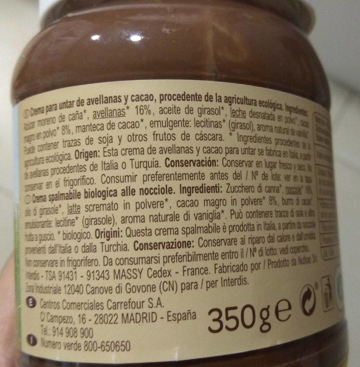 Crema de avellanas y cacao - Voedingswaarden - es