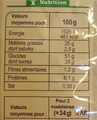 Madeleine coquilles - Voedingswaarden - fr