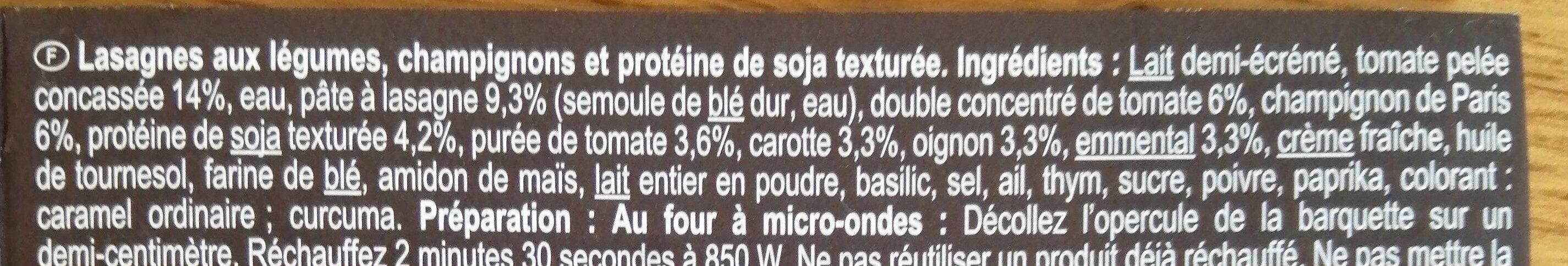 Lasagnes Légumes, soja - Ingrediënten - fr