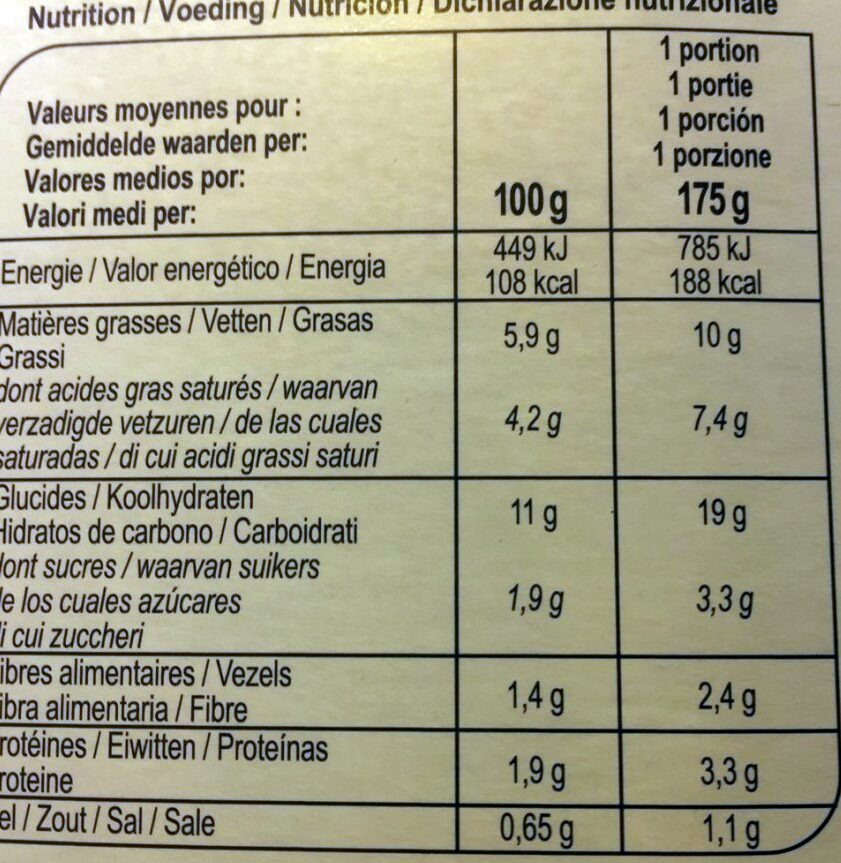 Purée de pomme de terre à la crème fraîche - Informations nutritionnelles - fr