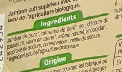Jambon Supérieur avec couenne - Ingrédients - fr