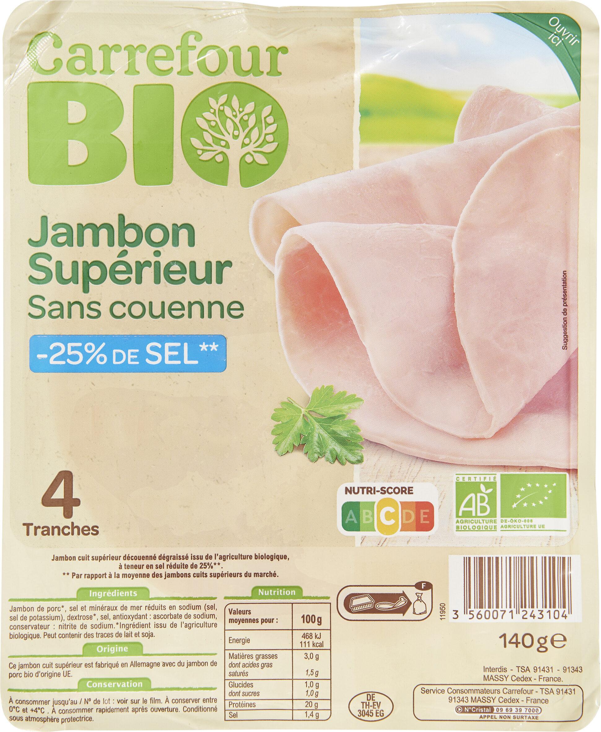 Jambon supérieur sans couenne -25% de sel - Product - fr