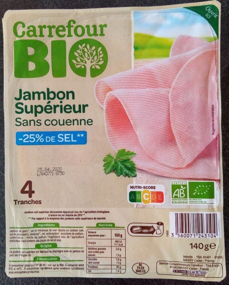 Jambon supérieur sans couenne -25% de sel - Produit - fr