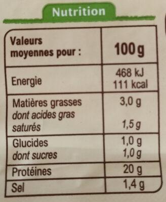Jambon supérieur sans couenne -25% de sel - Informations nutritionnelles - fr