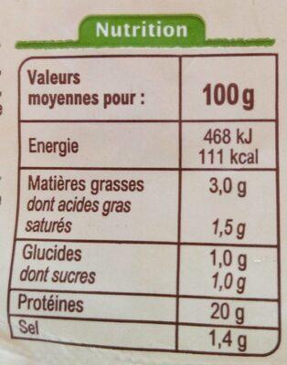 Jambon supérieur sans couenne -25% de sel - Voedingswaarden - fr