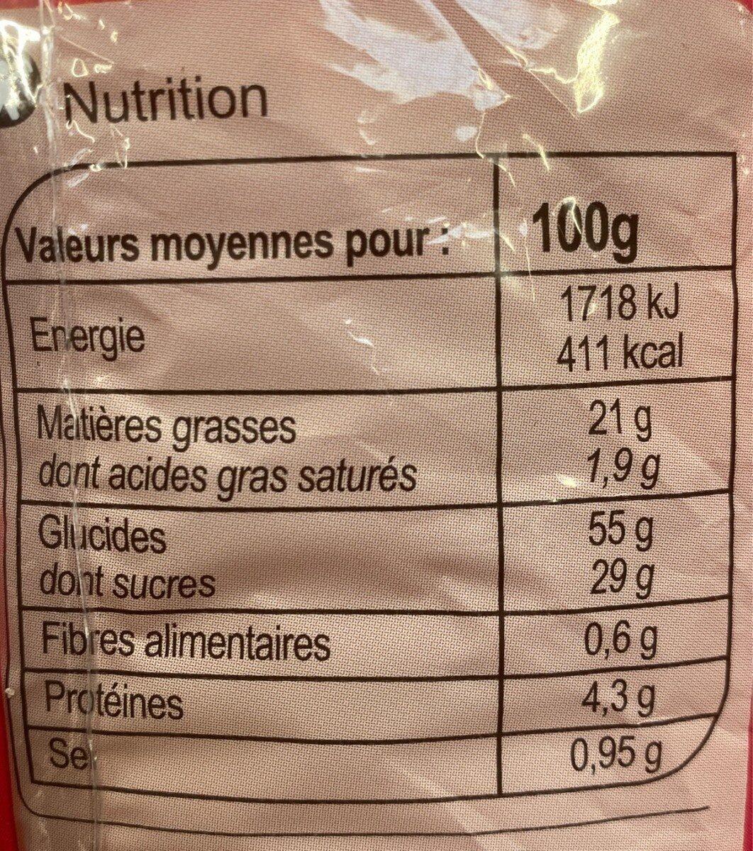 Madeleine coeur de framboise - Informations nutritionnelles - fr