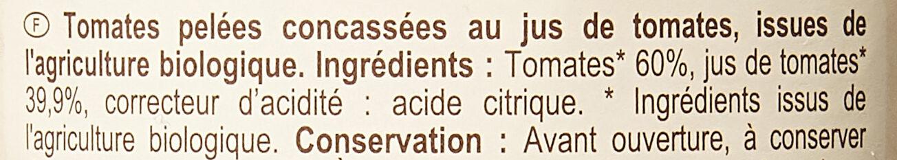 Tomates pelées en cubes au jus - Ingrediënten - fr
