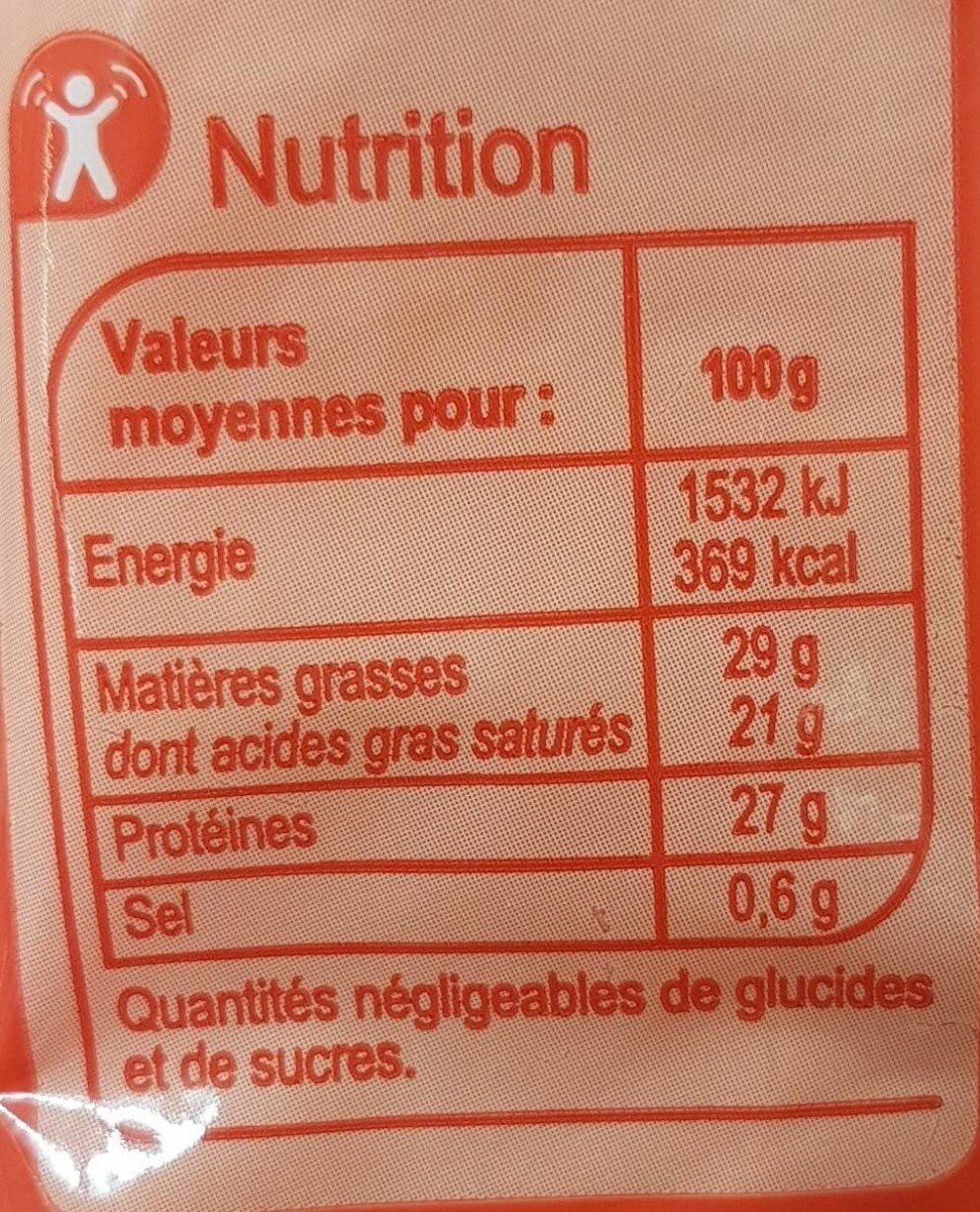 Emmental français doux et fruité - Nutrition facts - fr