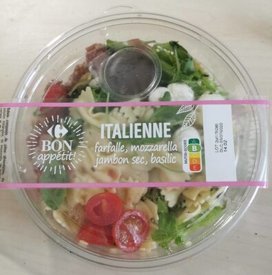 Salade Italienne farfalle, mozzarella, jambon sec, basilic - Product - fr