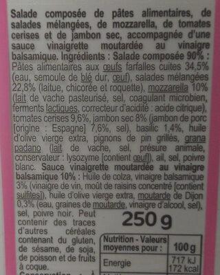 Salade Italienne farfalle, mozzarella, jambon sec, basilic - Ingrediënten - fr