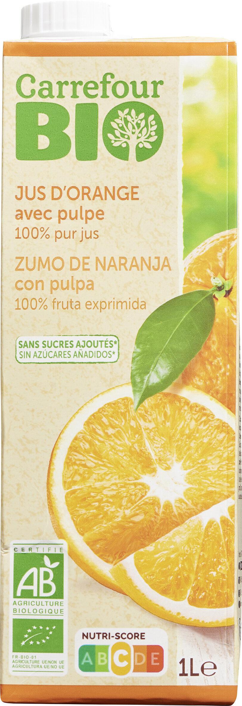 Carrefour bio jus d'orange avec pulpe - Produit - fr