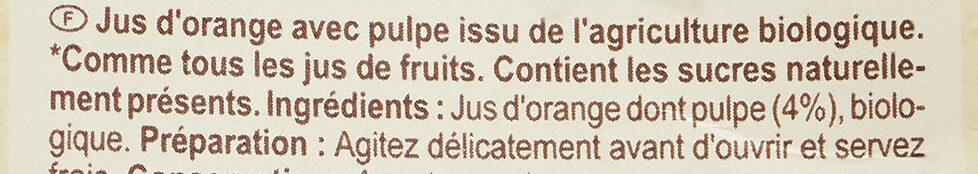 Carrefour bio jus d'orange avec pulpe - Ingrédients - fr